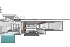 East-West Section Through Living and Pool Room